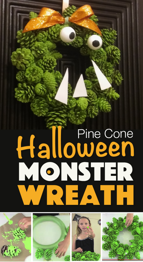 Pine Cone Monster Halloween Wreath Kids Crafts By Three