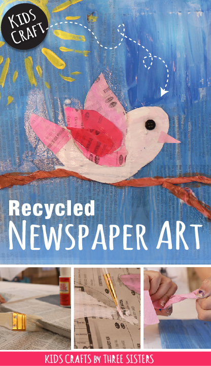 How To Make Bird Newspaper Art Easy Recycle Craft For Kidskids Crafts By Three Sisters Free Craft Tutorials