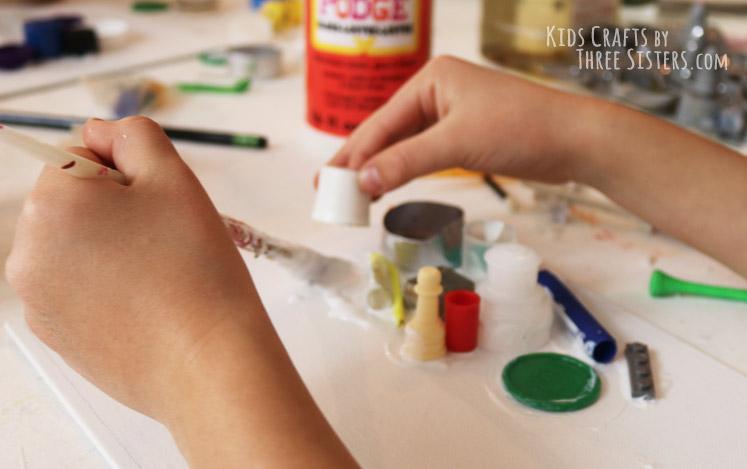 kids-mixed-media-art-mod-podge-junk-canvas-reese